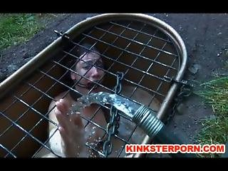 Outdoor Bdsm Locked In Hole Slave