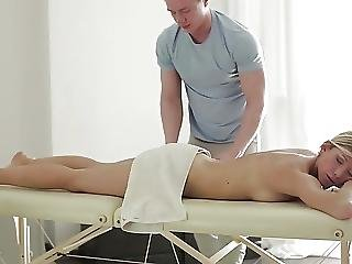 Blonde Gets Massaged Fucked And Facial