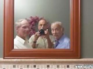 amatör, gammal, äldre man, rakad, vaginalt