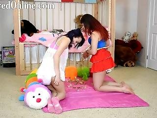 Mia And Red Playing In Messy Diapers