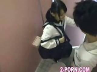 Amateur, Nique, Japonaise, école, Ados, Toilettes