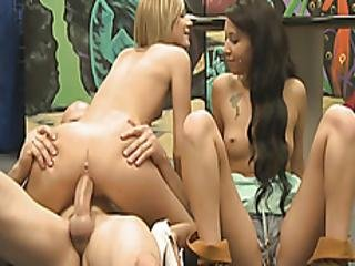 Tight Blonde And Brunette Hotties Orgy