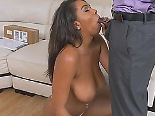 Curvy Ebony Babe Gives Head To Big Black Dong
