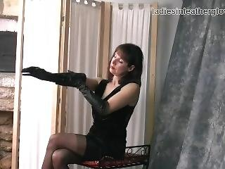 Posh Leggy Brunette Milf In Nylon Stockings Tease Soft Black Leather Gloves