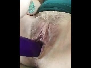 Laying In The Recliner Fuckin Myself With A Purple Dildo