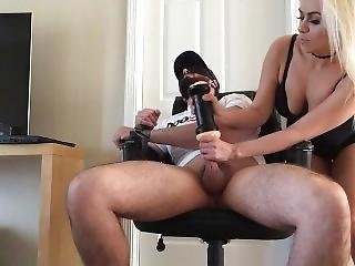 Milf Surprises Her Blindfolded Tied Sub With Fleshlight! Edging Cumshot!