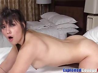 Brunette Coed Veronica Fucked Hard Before Cum Shower