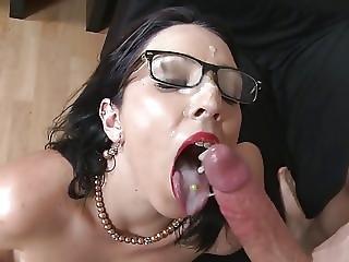School Teacher Milf Gets Cum On Face And Glasses