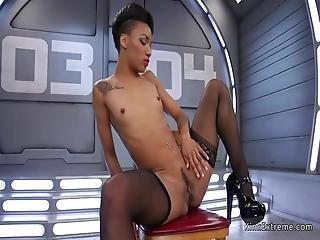 Tiny Tits Ebony Fucking Machine