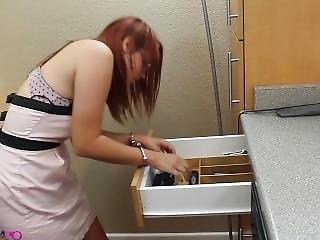 Girl Trying Handcuffs And Legirons Having No Keys