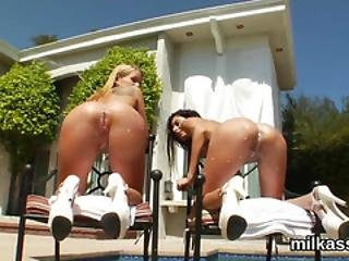 Peculiar Lesbians Fill Up Their Huge Asses With Milk And Blast It Out
