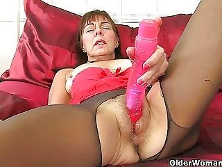 British Granny Georgie Fucks A Dildo