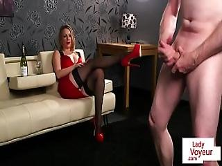 Busty British Voyeur Humiliates Tugging Guy