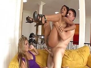 Black Hair Indian Honey Neela Sky With Nice Tits Is Fucked With Fat Cock On Sofa While His Sexy Blonde Wife Is Watching