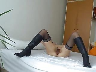 Lady In Nylons And Cossack Boots And Horny Husband