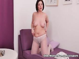 chatte, mature, milf, maman, nylon, collants, bas collants, étroite