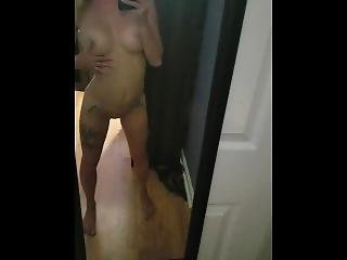 Petite Big Titty Blonde Plays With Her Pussy While Watching In The Mirror