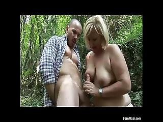 Chubby Granny Takes Dicking In The Forest