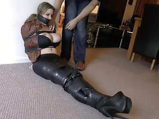 bondage, bottes, cuir