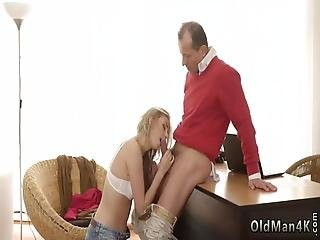 Brunette Licks And Fucks Old Man Stranger In A Large House Knows How To