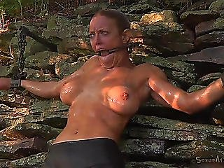Water Punishment And Ache Of A Large Breasted Hotty Outdoors