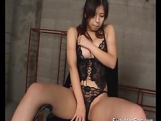 Gorgeous Oriental Finger Fucked And Teased Through Her Sexy Black Panties