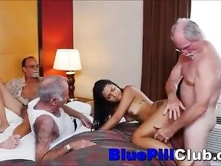 Latina Teenage Whore Fucks 3 Old Grandpas