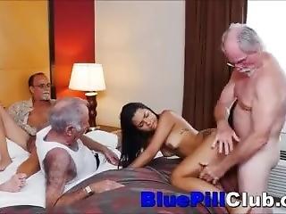 Latina Teenage Whore Fucks 3 Old Grandpas