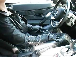 Horny In _leather In A Car