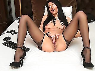 Brunette Hair Michelleangelx In Darksome Hawt Nylons / Webcamvideo Menacing-threatening Free Movie Scene From Popular Adult Web Camera