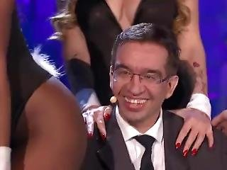 Lucky Guy Gets Teased By Three Busty Bunnies! Mainstream Italian Tv Show