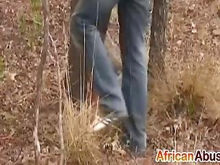 African Whore Is Taken Outdoors By White Dude Where She Will Be Roughly Mouthfucked As She Enjoys Both Of Those Big Schlongs In Her Pussy