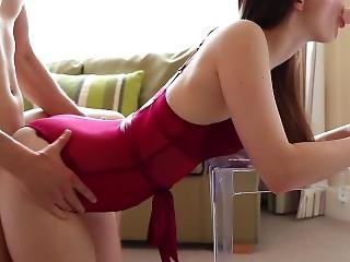 Girl In Lingerie Fulfils Spit-roast Fantasy With Boyfriend And A Dildo