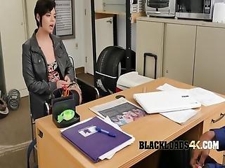Short Haired Brunette Enjoys Directors Fingers Deep In Her Mouth
