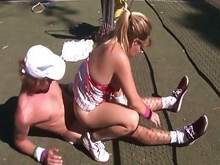 Nasty Amateur Couple Fucking Hard On Tennis Court