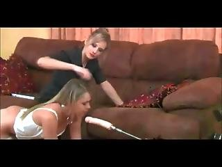 Blondes Babes In Stockings Machine And Strapon Fuck