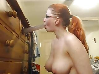 Amateur, Blowjob, Deepthroat, Dildo, Facefuck, Fucking, Glasses, Redhead, Slut, Webcam