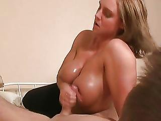 Titfuck Fearsome Cook Jerking Blond Older