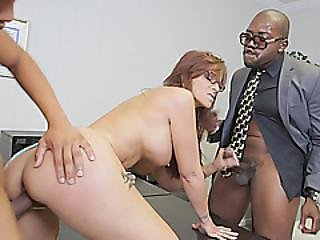 This Angry Milf With Massive Tits Is Horny Enough To Handle Two Black Cocks