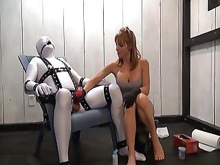 Milked Bound Slave With Ruined Orgasm Drinks His Own Cum