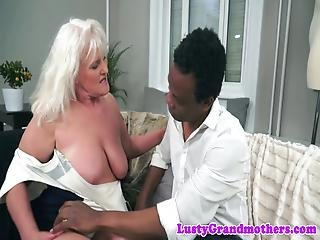 Cock Sucking Granny Drilled By Big Black Cock