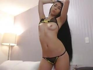 Sexy Long Haired Latina Striptease, Long Hair, Hair