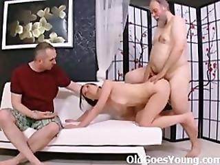 Teenie With Small Tits Gets Her Mouth And Pussy Full Of Old Cock