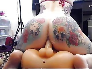 Tattooed Pawg Anal Ride Dildo