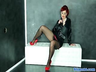 Redhead Euro Babe Sucks Gloryhole Cock