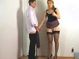 Amateur, Blonde, Panties, Rubbing, Satin, Secretary, Uniform