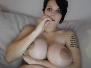 Big Titted Cam Girl Sucking Dildo - Model At Slutrouletta.com