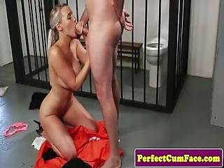 British Police Babe Jizzed On Face After Bj