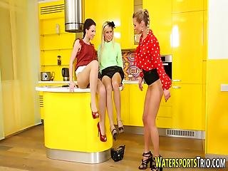 Glam Lesbians Urinating