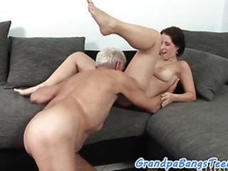 Busty Teenager Gets Pleased By Senior